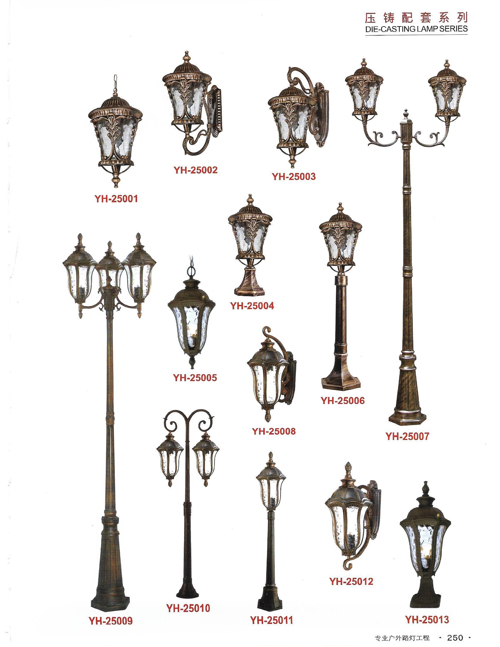 Đèn cột sân, vườn và tai đèn